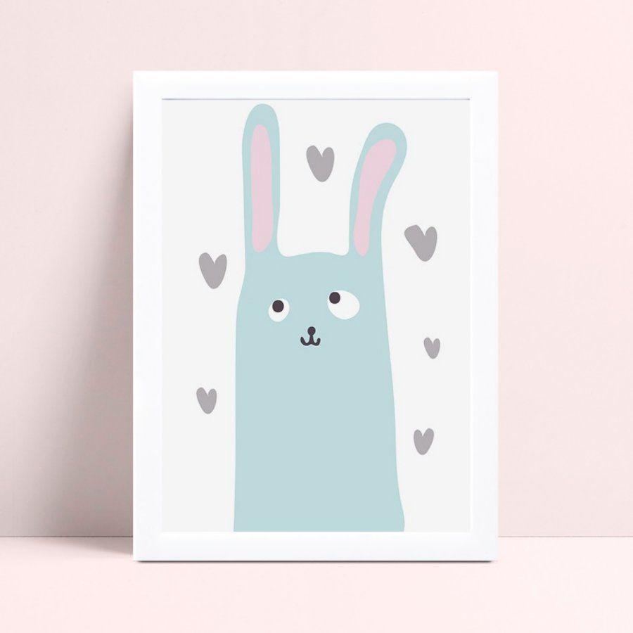 Quadro Decoração Infantil coelho azul corações