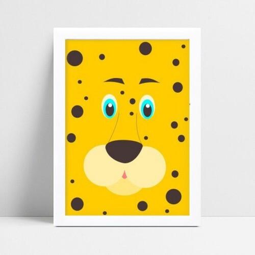 Quadro Decoração Infantil desenho face rosto jaguar