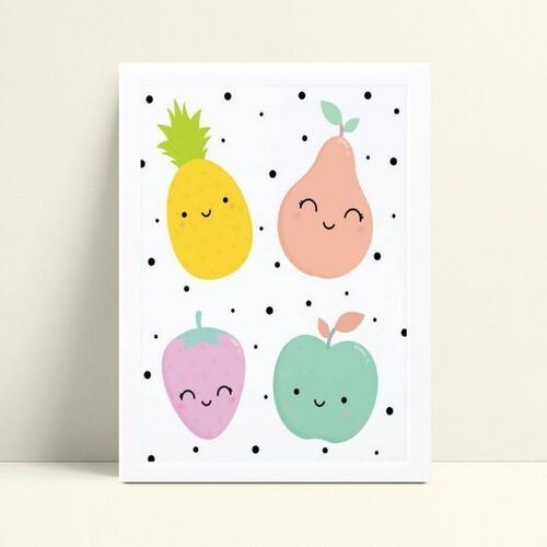 Quadro Decoração Infantil desenho frutas
