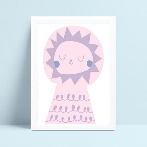 Quadro Decoração Infantil desenho leão rosa