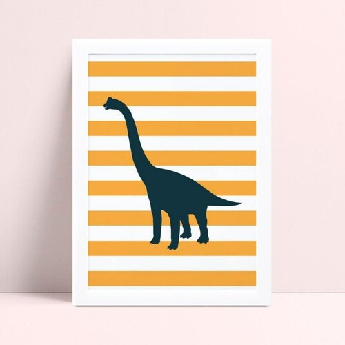 Quadro Decoração Infantil dinossauro listras laranja