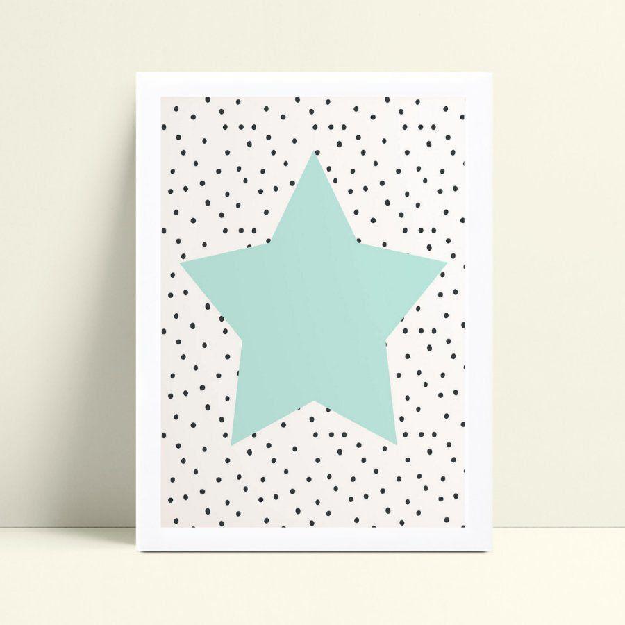 Quadro Decoração Infantil estrela azul bolinhas preto