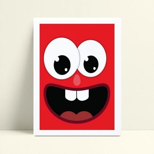 Quadro Decoração Infantil face rosto monstro vermelho