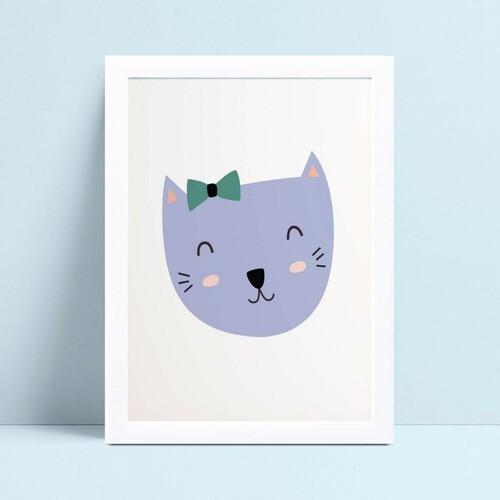 Quadro Decoração Infantil gatinha violeta