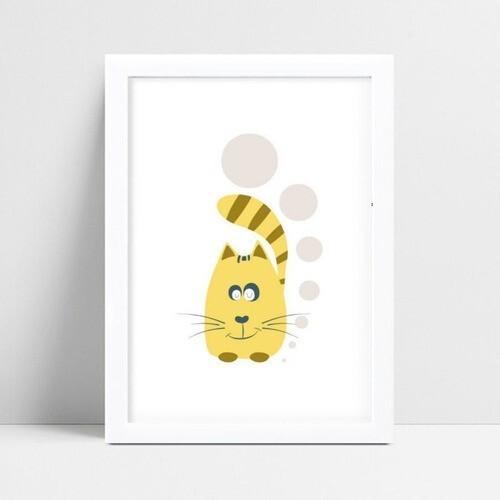 Quadro Decoração Infantil gato amarelo