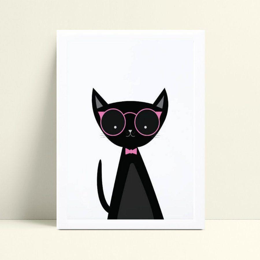 Quadro Decoração Infantil gato preto de óculos rosa