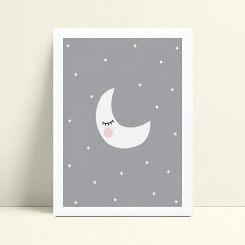 Quadro Decoração Infantil lua céu estrelado