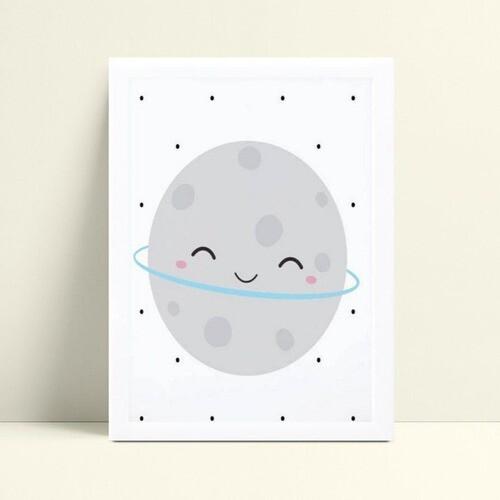 Quadro Decoração Infantil lua espaço