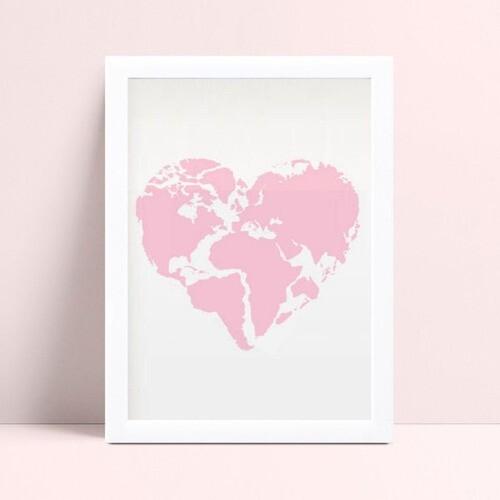 Quadro Decoração Infantil mapa coração rosa