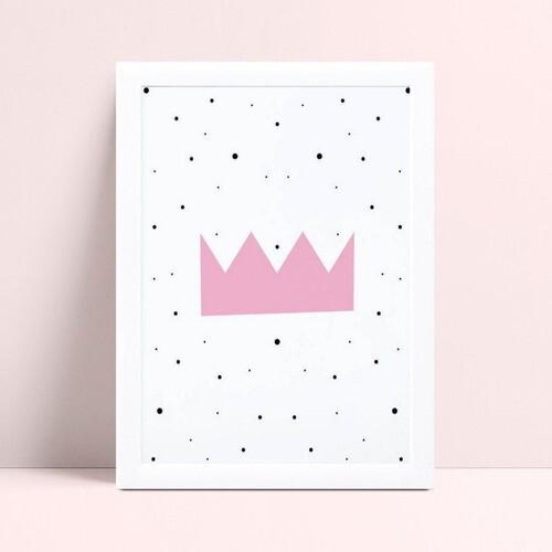 Quadro Decoração Infantil menina coroa princesa rosa