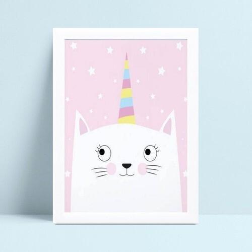 quadro decoração infantil menina gato branco unicórnio