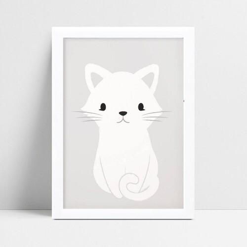 Quadro Decoração Infantil menina menino animal gato branco