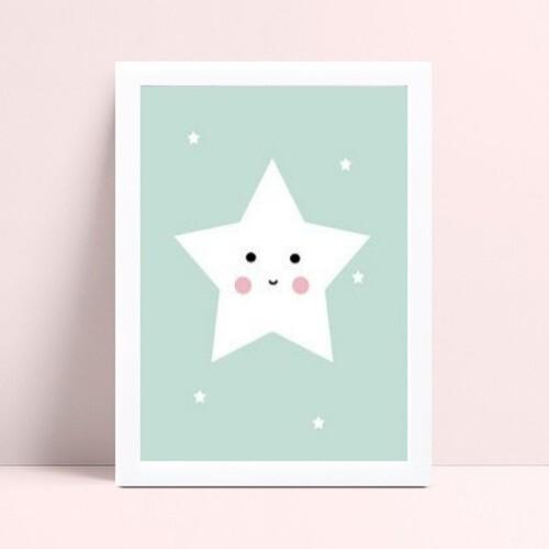 Quadro Decoração Infantil menino estrela branca