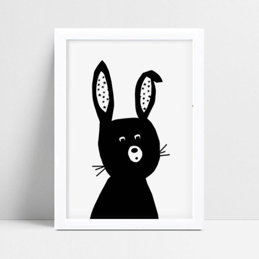 Quadro Decoração Infantil menino menina coelho preto