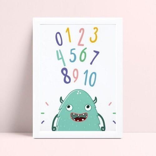 Quadro Decoração Infantil monstro números coloridos