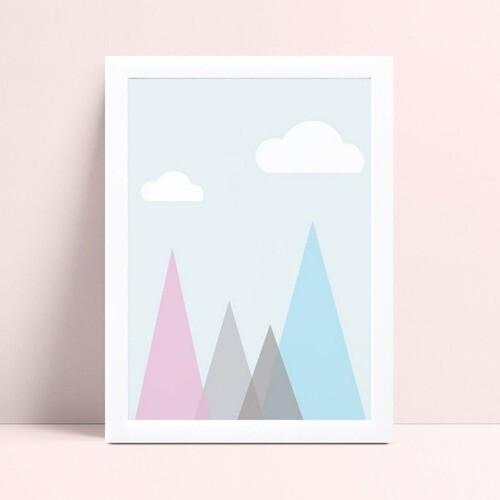 quadro decoração infantil montanhas triangulares coloridos