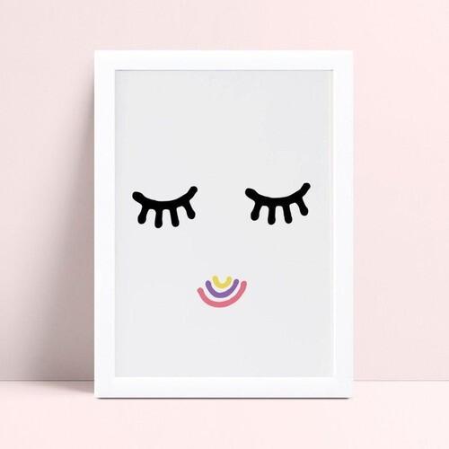 Quadro Decoração Infantil olhos cílios sorriso colorido