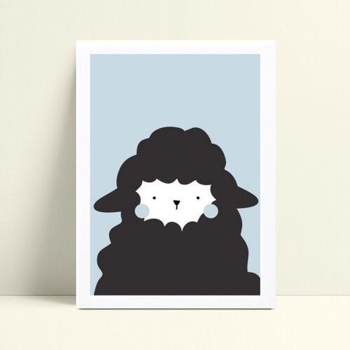 Quadro Decoração Infantil ovelha preta e azul