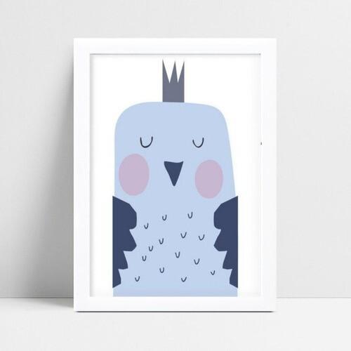 Quadro Decoração Infantil pássaro azul coroa príncipe