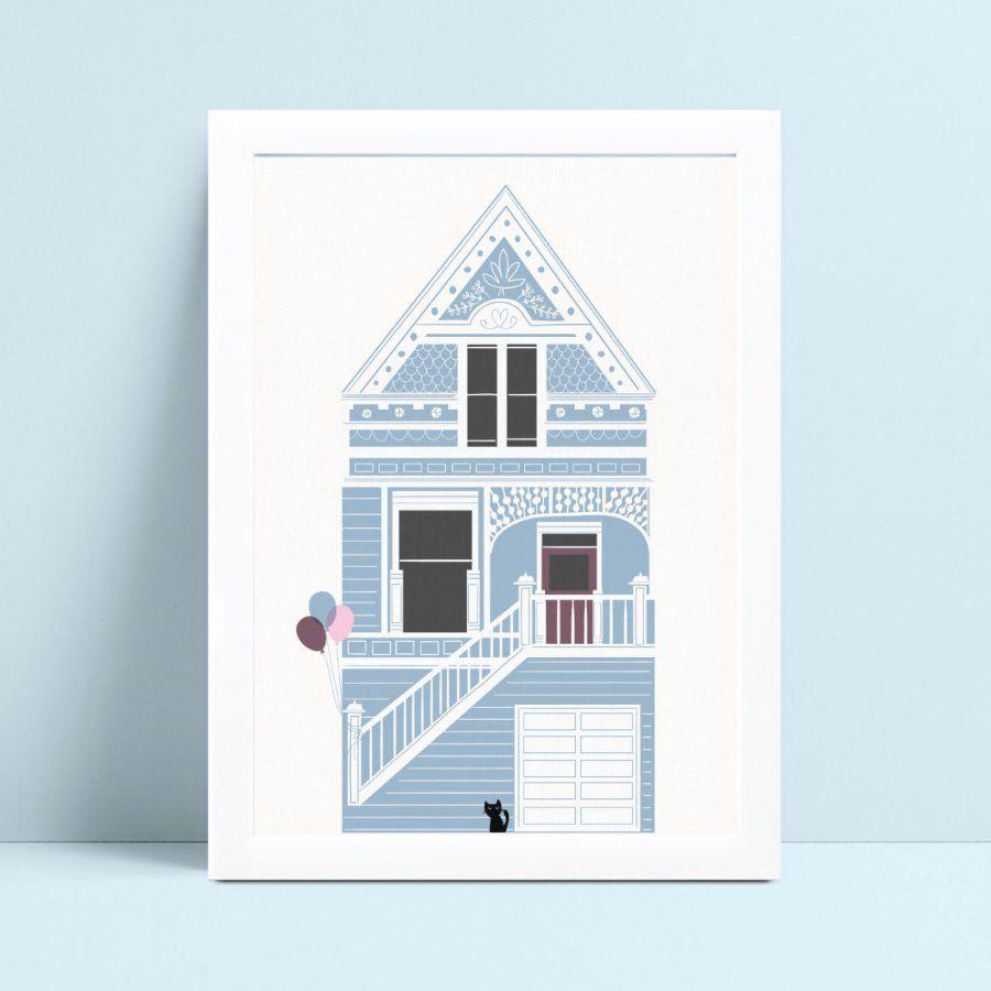 Quadro decoração infantil quarto casa azul gato preto