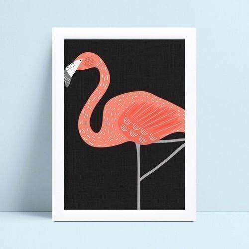 Quadro decoração infantil quarto flamingo rosa