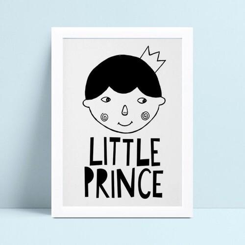 Quadro decoração infantil quarto menino príncipe p&b