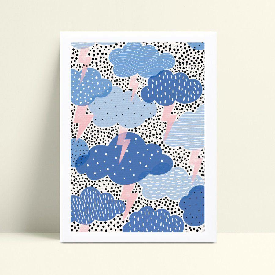 Quadro decoração infantil quarto nuvens azul raio rosa