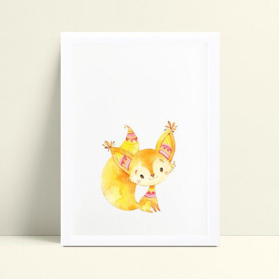 Quadro Decoração Infantil raposa aquarela