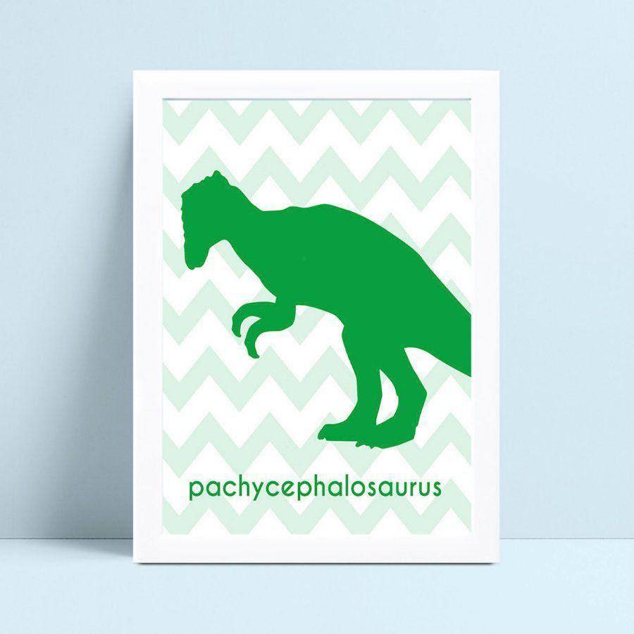 Quadro Decoração Infantil silhueta verde dinossauro