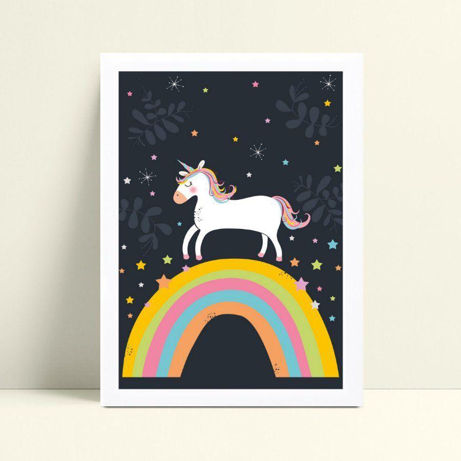 Quadro Decoração Infantil unicórnio arco-íris