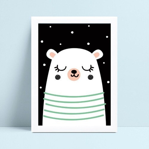 Quadro Decoração Infantil urso branco noite estrelada