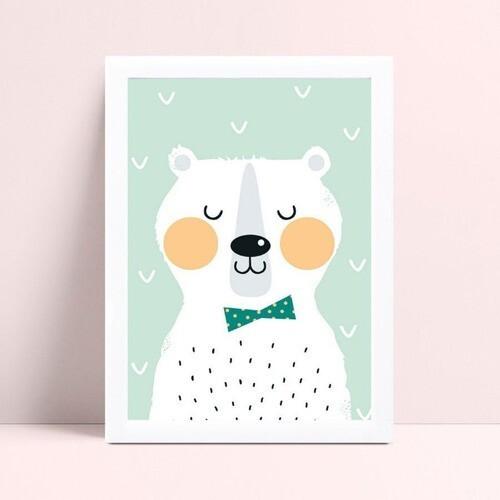 Quadro Decoração Infantil urso de gravata borboleta