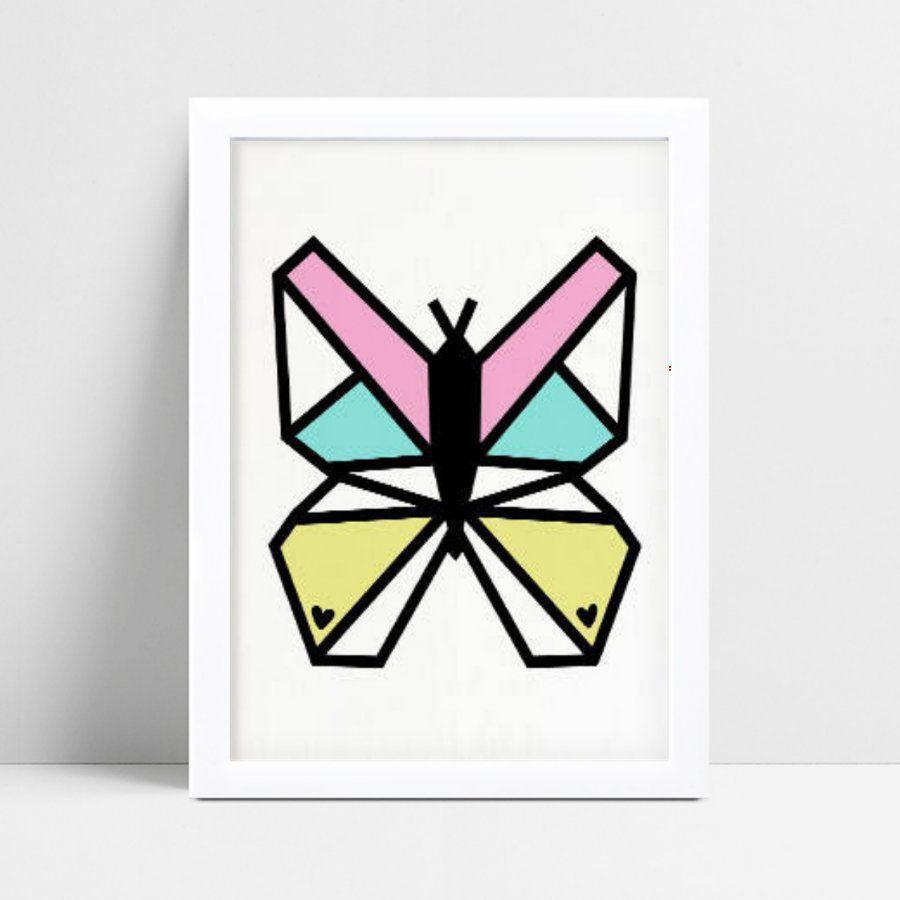 quadro decoração quarto infantil borboleta geométrica color