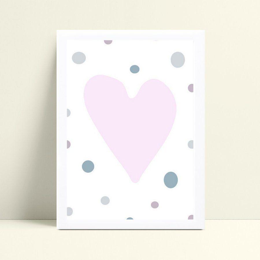 quadro decoração quarto infantil coração rosa bolinhas color