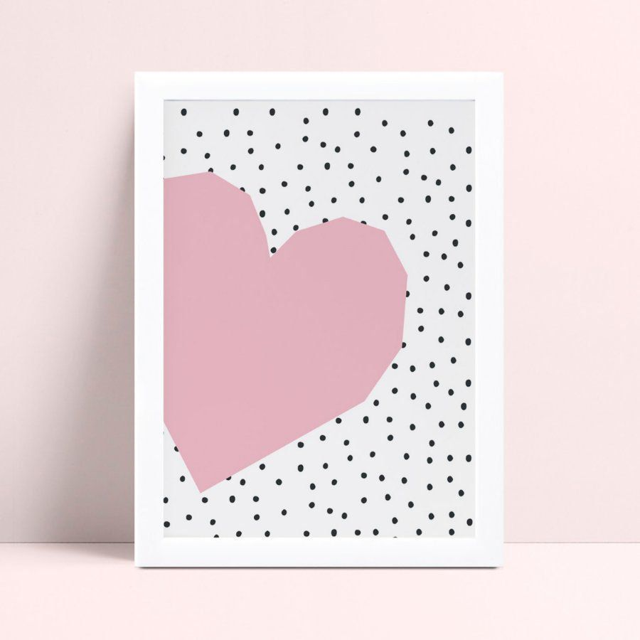 quadro decoração quarto infantil coração rosa bolinhas preto