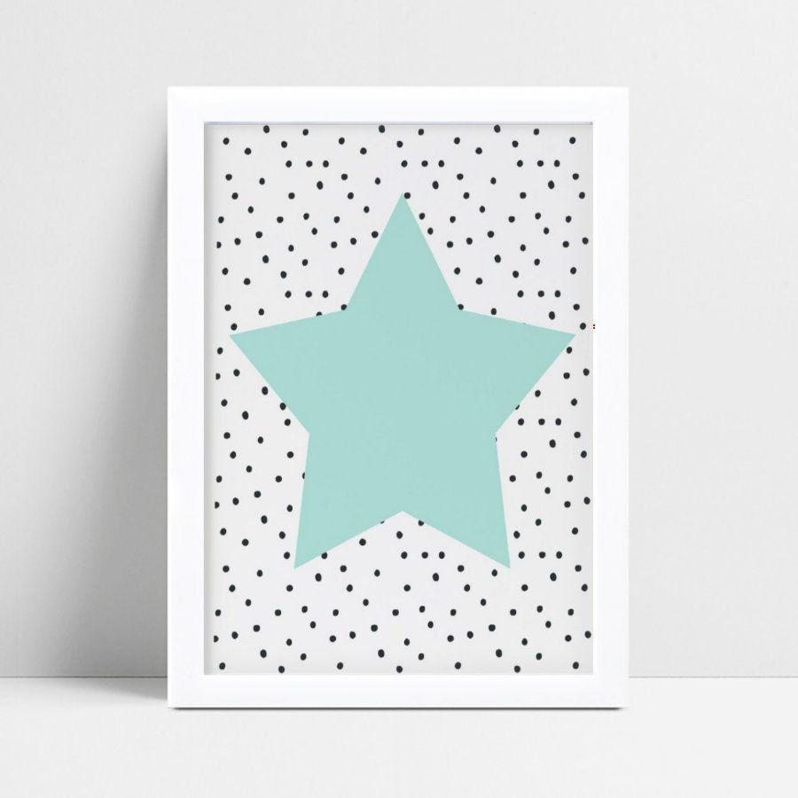 quadro decoração quarto infantil estrela azul bolinhas preto