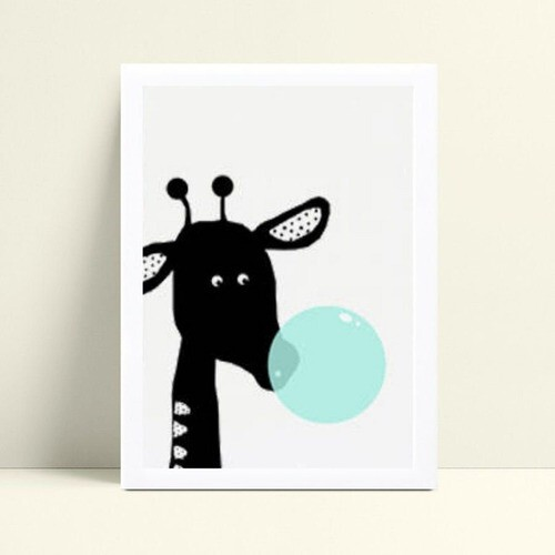 quadro decoração quarto infantil girafa preto bola chiclete