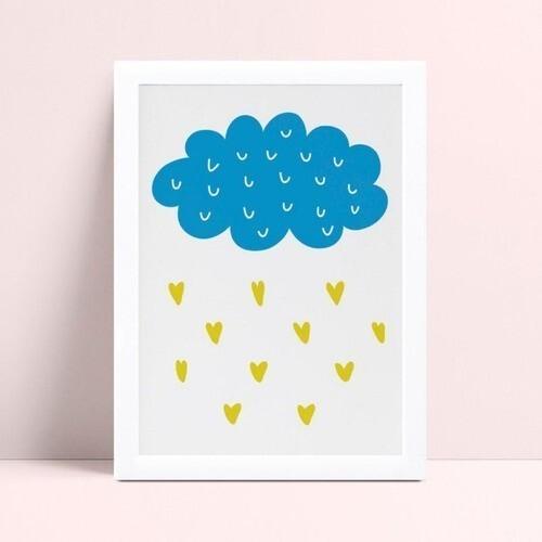 quadro decoração quarto infantil nuvem azul gotas de coração