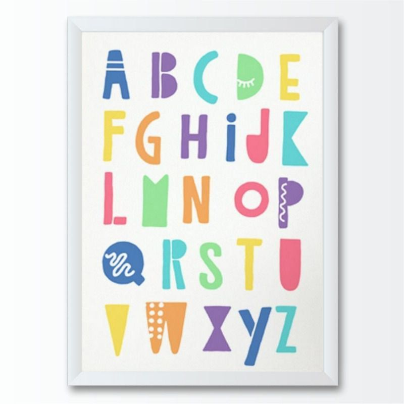 Quadro infantil alfabeto abc colorido