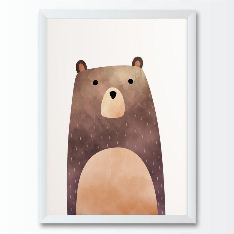 Quadro infantil animal urso marrom floresta