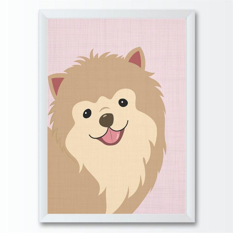 Quadro infantil Bebê Cão Cachorro Pomerani