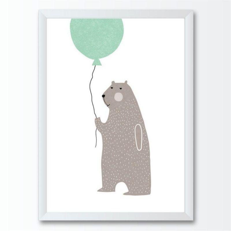 Quadro infantil bexiga animal urso