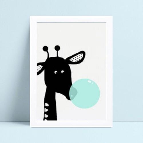Quadro infantil decoração girafa preto bola chiclete azul