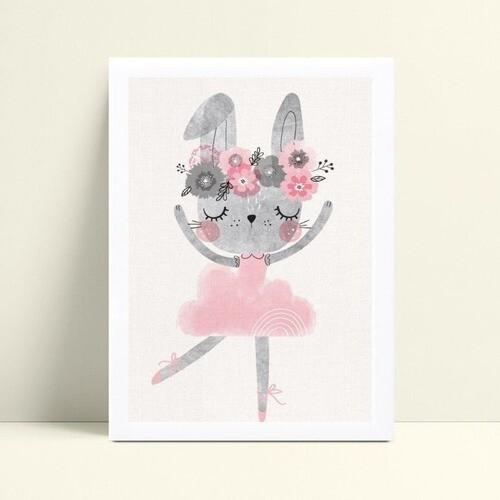 Quadro infantil decoração menina coelho bailarina flores