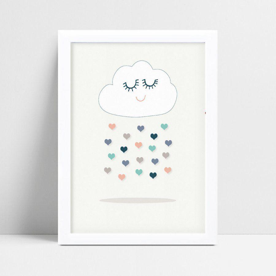 Quadro infantil decoração menina nuvem chuva gotas coloridas