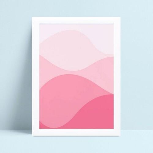 Quadro infantil decoração menina ondas rosa bebê