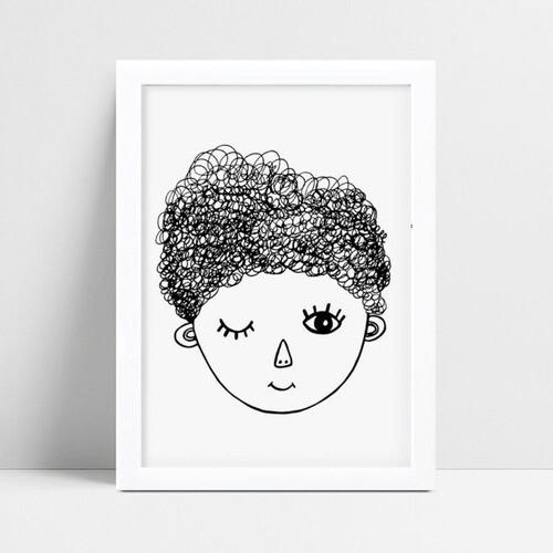 Quadro infantil decoração menina rosto desenho p&b