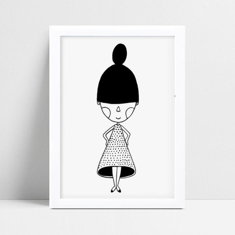 Quadro infantil decoração menina vestido de bolinhas p&b