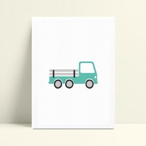 Quadro infantil decoração menino caminhão azul