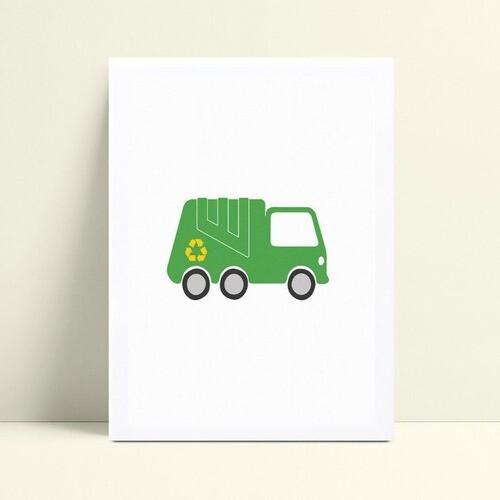 Quadro infantil decoração menino caminhão lixo verde